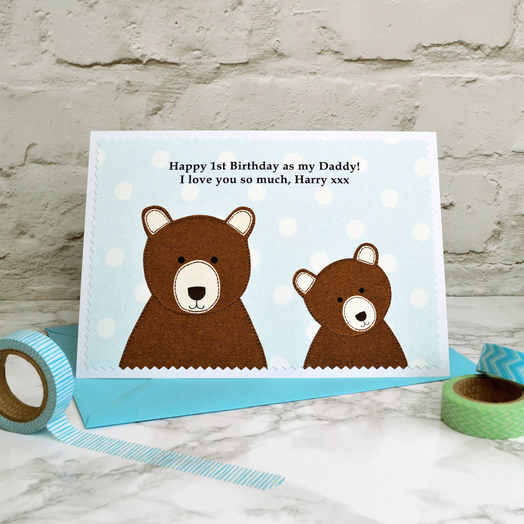 daddy bear personalised birthday card from children by jenny – Birthday Card for Child