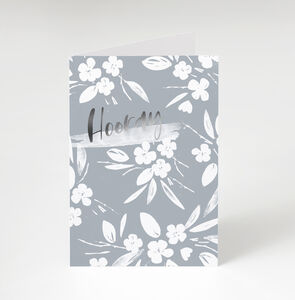 Floral 'Hooray' Celebration Greetings Card