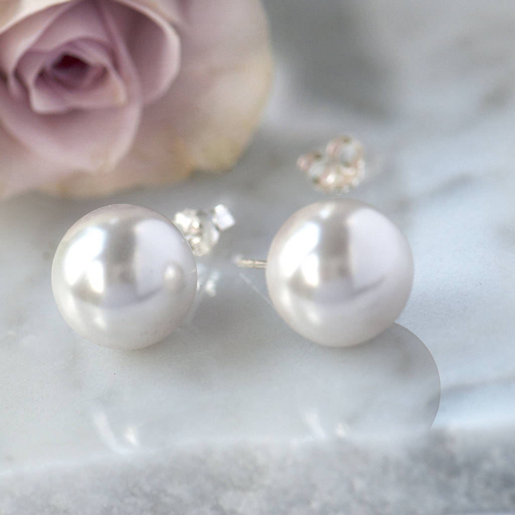 Faux Pearl Sterling Silver Large Stud Earrings
