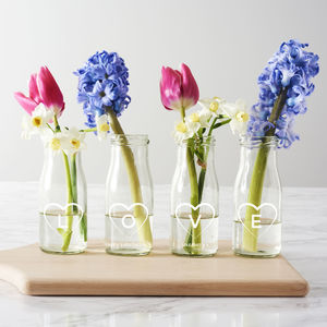 Personalised 'Love' Bottle Bud Vases - kitchen