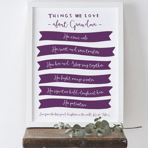 Things We Love About Grandma Print - posters & prints