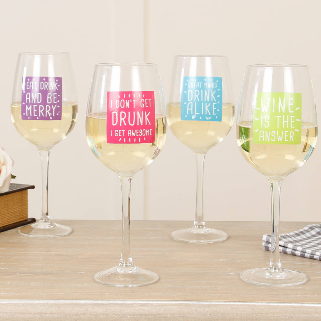 Set Of Four Bright Print Soul Of The Party Wine Glasses