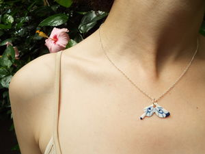 Porcelain Butterfly Wing On 18'' Silver Chain - necklaces & pendants