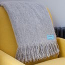 Grey Fluffy Mohair Throw
