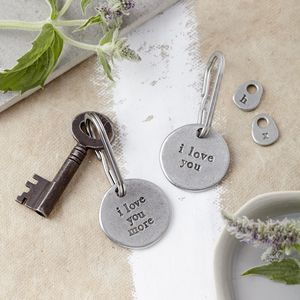 'I Love You'/'I Love You More' Keyring - anniversary gifts