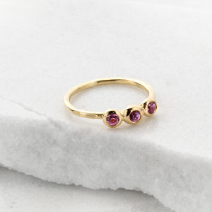 18ct Gold Trinity Bud Ring With Pink Sapphires