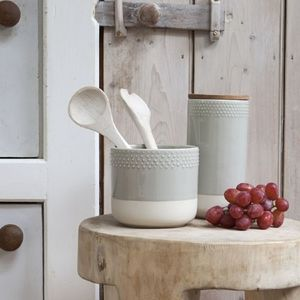 Raised Dot Grey Storage Jar - kitchen
