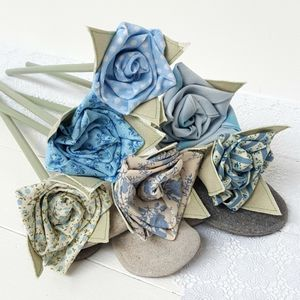 Something Blue Fabric Flowers With Engraved Tag - home accessories