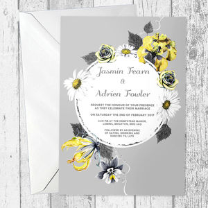 Yellow And Grey Floral Wedding Invitations - wedding stationery