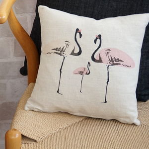 Flamingo Party Linen Cushion - decorative accessories