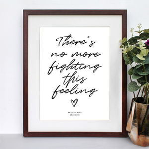 Personalised Your Own Song Lyrics Quote Print - music