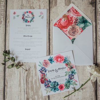 Bright Blooms Wedding Invites