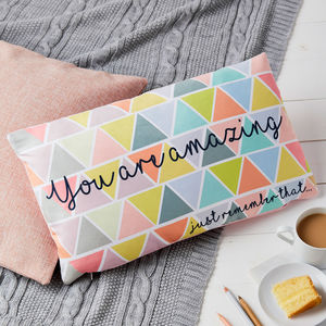 Geometric Pastel You Are Amazing Cushion