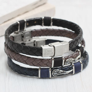Personalised Men's Leather Angel Wing Bracelet - bracelets
