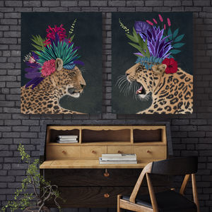 Hot House Leopards, Set Of Two Art Prints