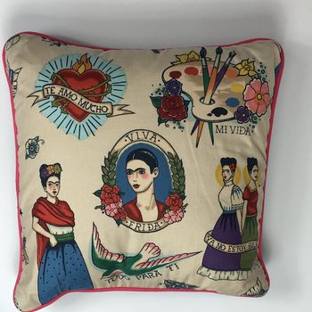 Mexican Cushion With Pink Piping