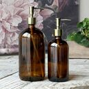 Amber Glass Bottle With Brass Pump 480ml