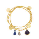Ashiana Gold And Navy Jade Multi Charm Bracelets