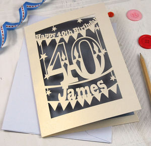 Personalised Papercut 40th Birthday Card - 40th birthday cards