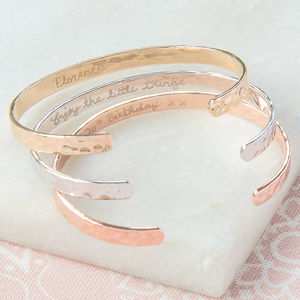 Personalised Hammered Open Bangle - mother's day gifts