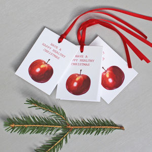 Illustrated Red Apple Christmas Gift Tags - cards & wrap