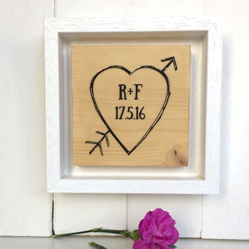 Love Heart Personalised With Initials Printed On Wood