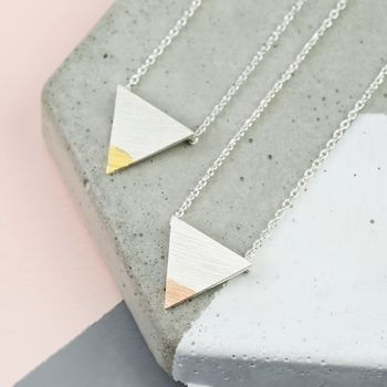 Dipped Mixed Metal Triangle Necklace