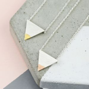 Dipped Mixed Metal Triangle Necklace - necklaces & pendants