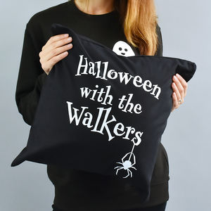 'Halloween With The…' Personalised Cushion