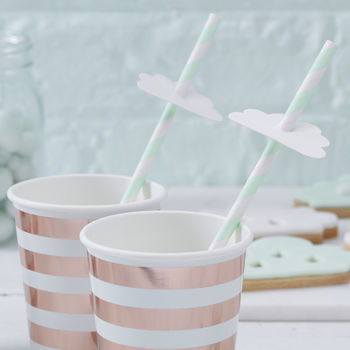 Mint Green Cloud Shaped Paper Party Straws
