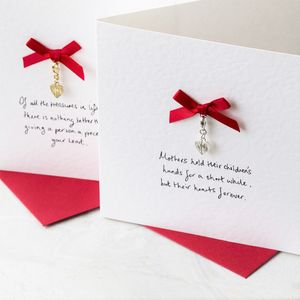 Personalised Silver Heart Gift Card With Charm Keepsake - mother's day cards