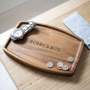 Personalised Acacia Wood Coin Tray - cufflink boxes & coin trays