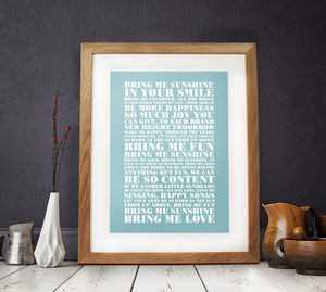 Personalised Favourite Lyrics Poster - gifts for brothers