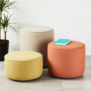 Camden Piped Drum Stool - footstools & pouffes