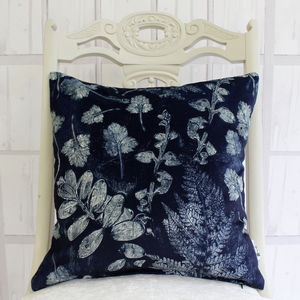 Forest Textures Botanical Print Cushion - bedroom
