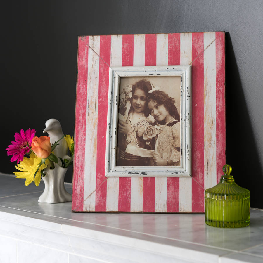 Distressed Pink Candy Stripe Photo Frame
