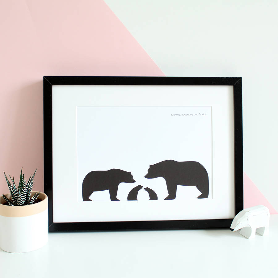 bear family personalised silhouette a4 print by heather alstead