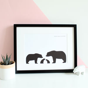 Bear Family, Personalised Silhouette A4 Print - animals & wildlife
