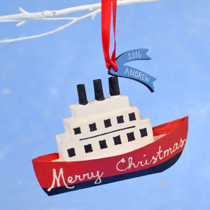 Personalised Boat Christmas Decoration - new in christmas
