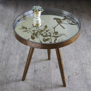 Round Mirror Bird Side Table - side tables
