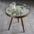 Round Mirror Bird Side Table