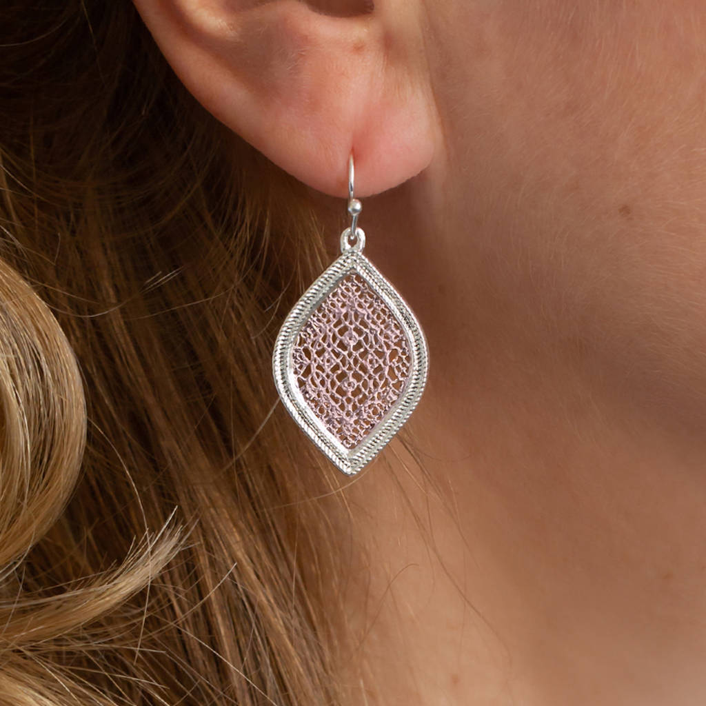0bea9c64d Silver And Rose Gold Filigree Leaf Earrings By Baronessa