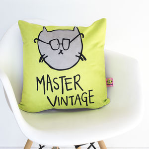 Funny 'Master Vintage' Neon Cushion - living room