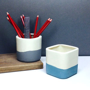 Two Tone Handmade Ceramic Desk Tidy Pen And Pencil Pot
