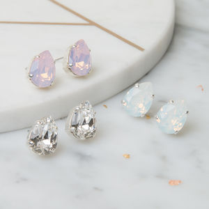 Pear Shaped Crystal Earrings - enchanted wedding trend