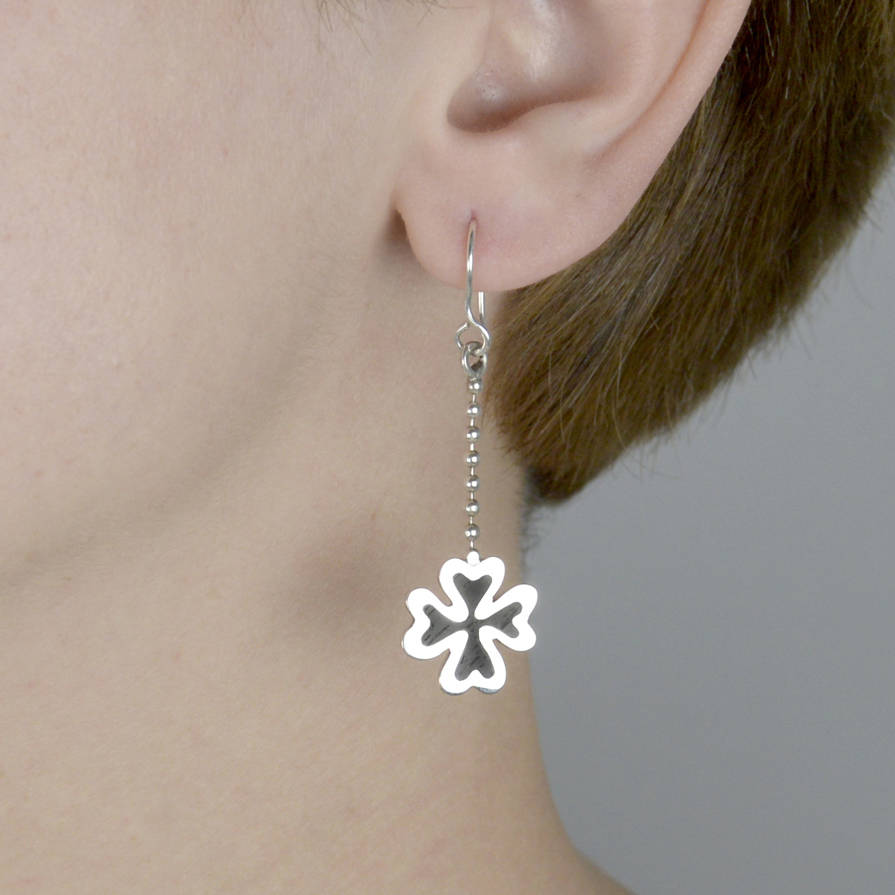 Lucky Clover Silver And Wood Earrings For Good Luck