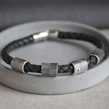 Silver Fingerprint Bead Leather Bracelet