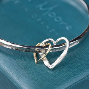 Silver And Gold Textured Double Heart Bangle
