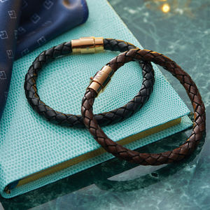 Men's Personalised Rose Gold Clasp Leather Bracelet - bracelets