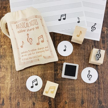 Musical Notes Rubber Stamp Teacher Gift Set